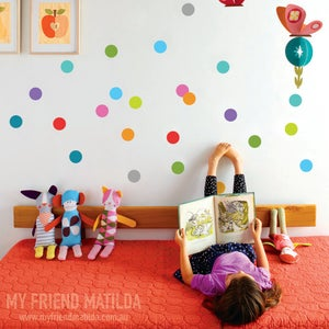 Image of Colourful Polka Dots Wall Decal