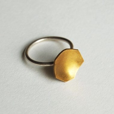 Image of Brass faceted shape ring