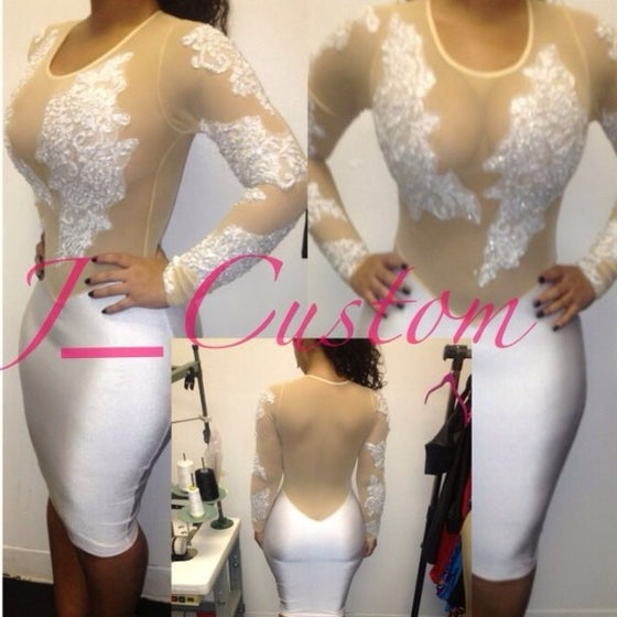 Image of White & Nude Embellish Dress