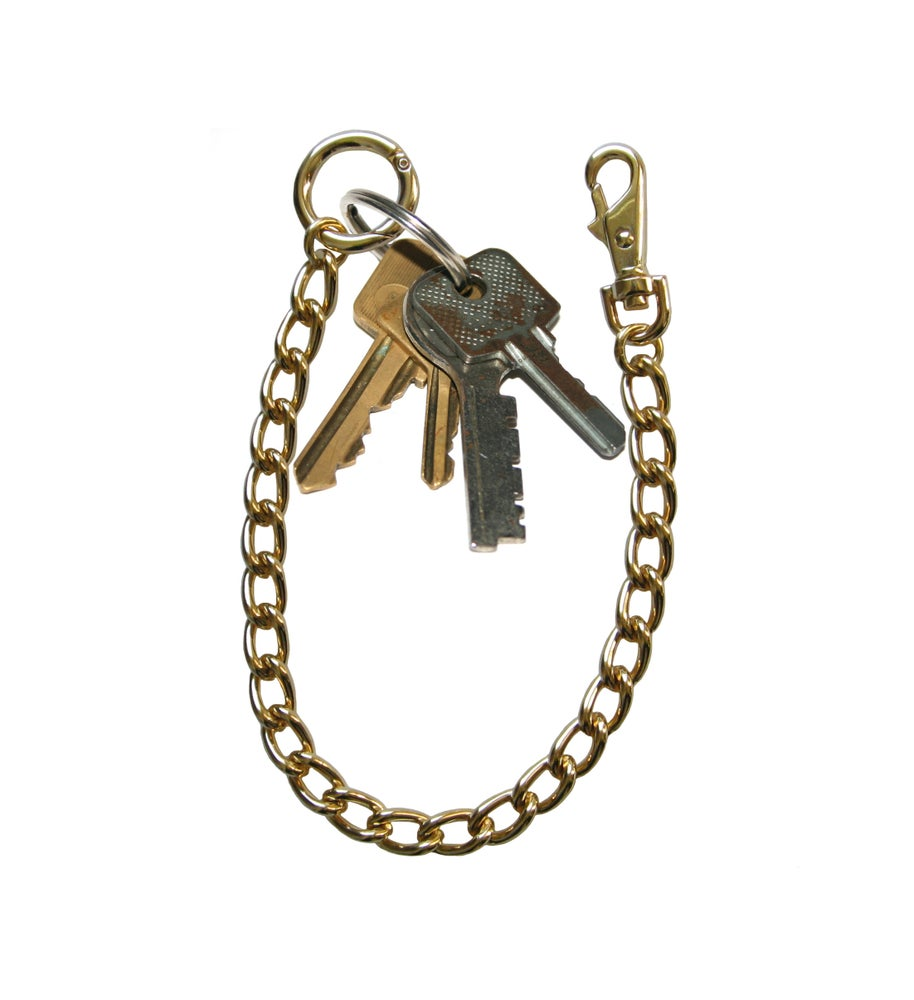 Image of Gold Classy Curb Chain Key Fob Tether Handbag Accessory - Your Choice of Length & Clasp Type