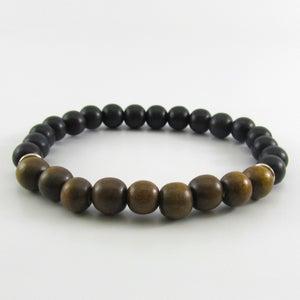 Image of Greywood and black wooden beaded bracelet