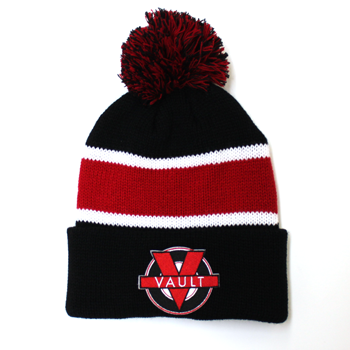 "Image of ""Vault Life"" Knit Beanie (Black/Red)"