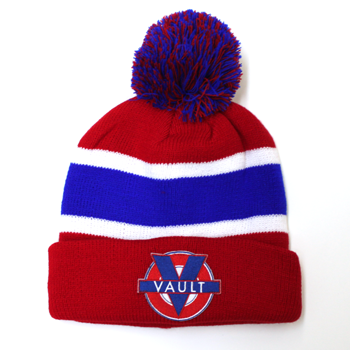 """Image of """"Vault Life"""" Knit Beanie (Blue/Red)"""