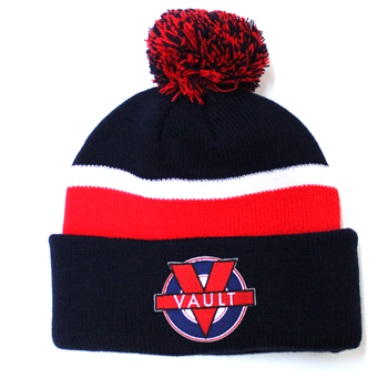 "Image of ""Vault Life"" Knit Beanie (Navy/Red)"