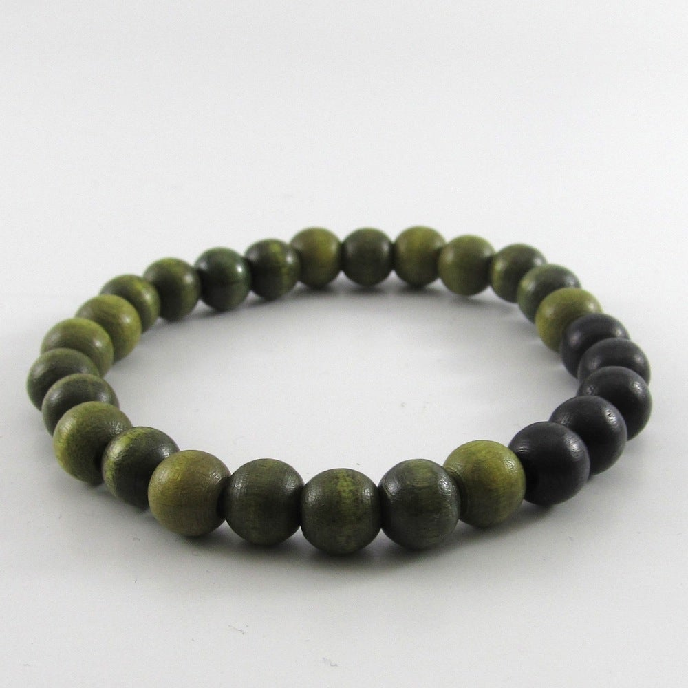 Image of Olive Green and Black Beaded Stretch Bracelet