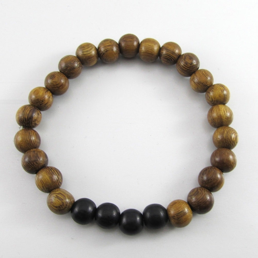 Image of Brown Robles and Black Beaded Stretch Bracelet