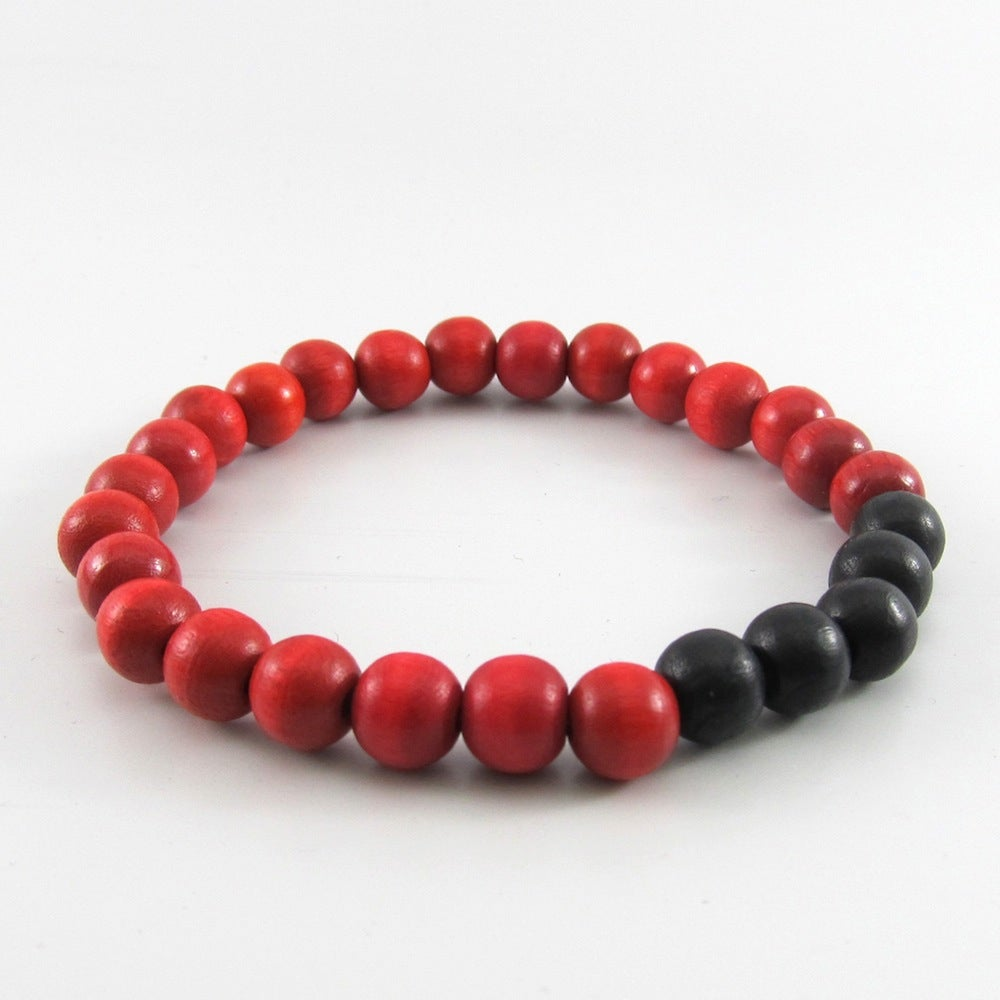 Image of Red and Black Beaded Stretch Bracelet