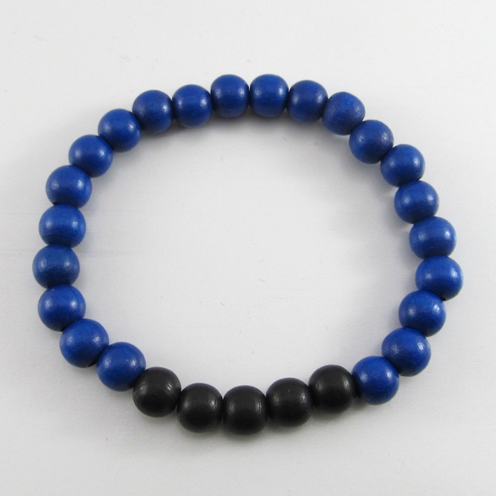 Image of Blue and Black Beaded Stretch Bracelet