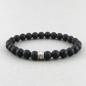Image of Matt hematite and silver bead bracelet
