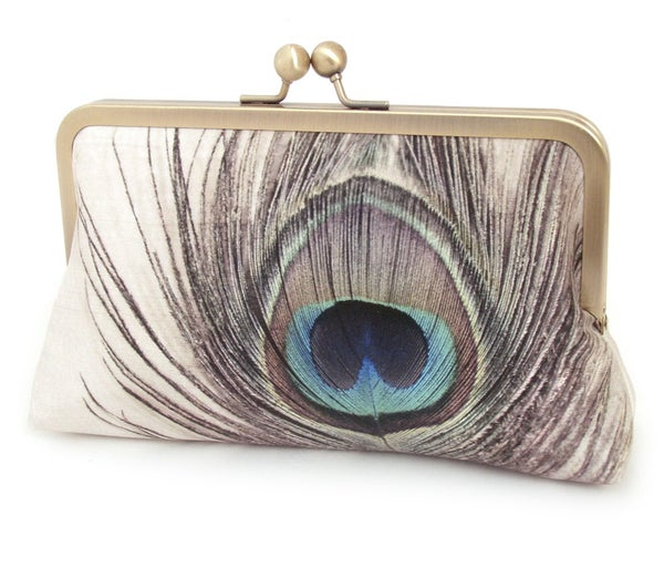 Peacock feather clutch bag, peacock purse, bridesmaid gift - Red Ruby Rose