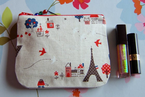Image of Eiffel Tower paris french linen purse cosmetic pouch makeup bag