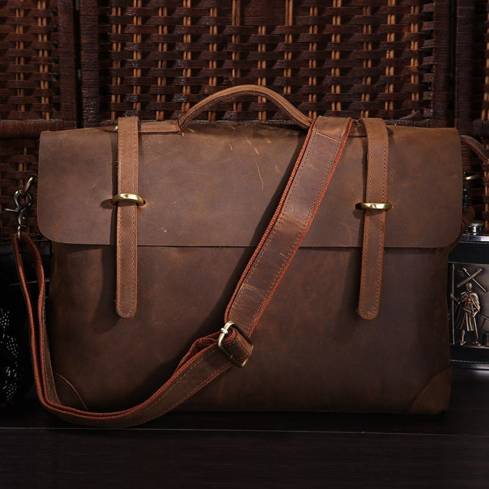 "Image of Vintage Handmade Crazy Horse Leather Briefcase Messenger 13"" 15"" MacBook / 13"" 14"" Laptop Bag (n368)"