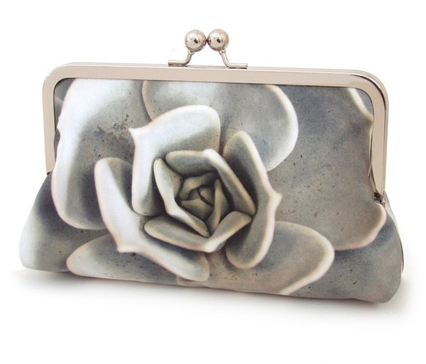 Grey blue succulent flower clutch bag, silk purse - Red Ruby Rose