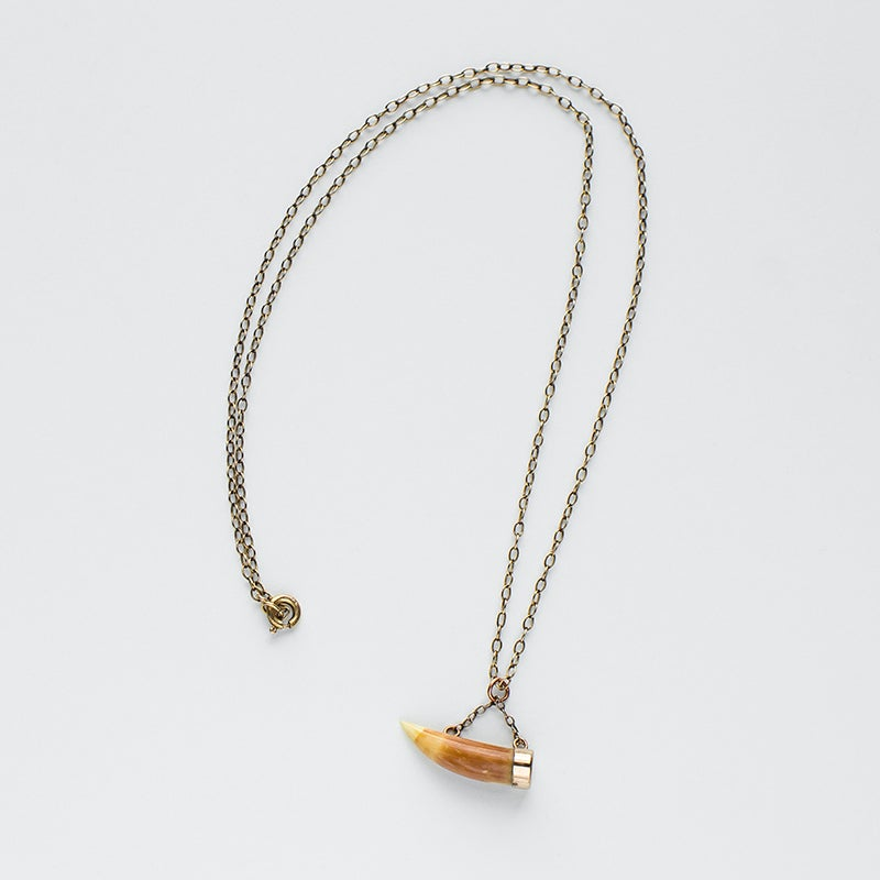 Image of Antique Victorian Tiger Tooth Fob Necklace