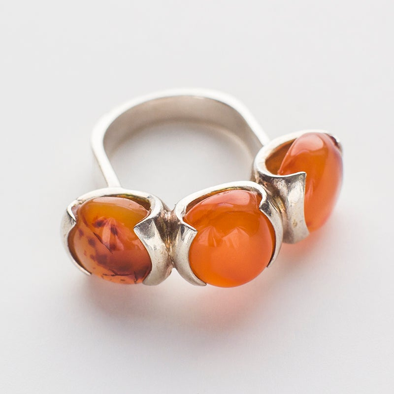 Image of Antique Mid Century Carnelian and Sterling Silver Ring