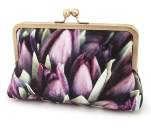 Purple tulips clutch bag, silk wedding purse - Red Ruby Rose