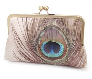 Peacock Feather - an original silk clutch purse, peacock purse, peacock feather bag - Red Ruby Rose