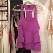 Image of Aqua lavender tiered ruffle tank - size small