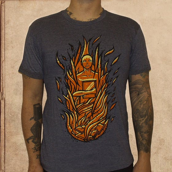 Image of Fahrenheit 451 -heather blue - discharge ink
