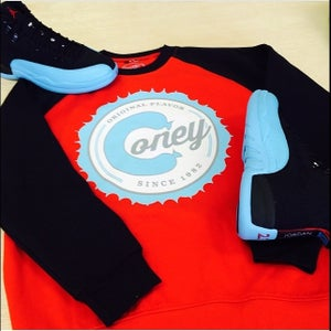 Image of Branded Joes Coney Island - gamma blue and white ink - red crew neck