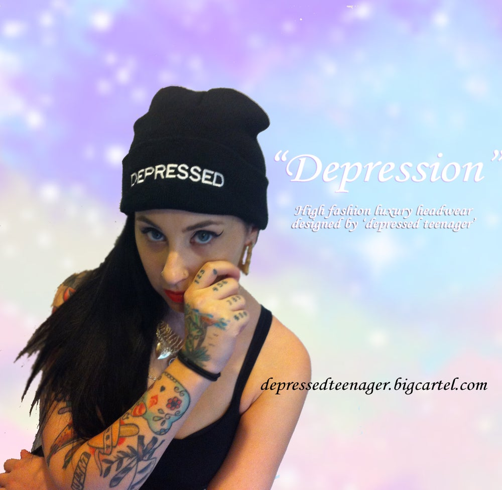 Image of 'Depressed' beanie