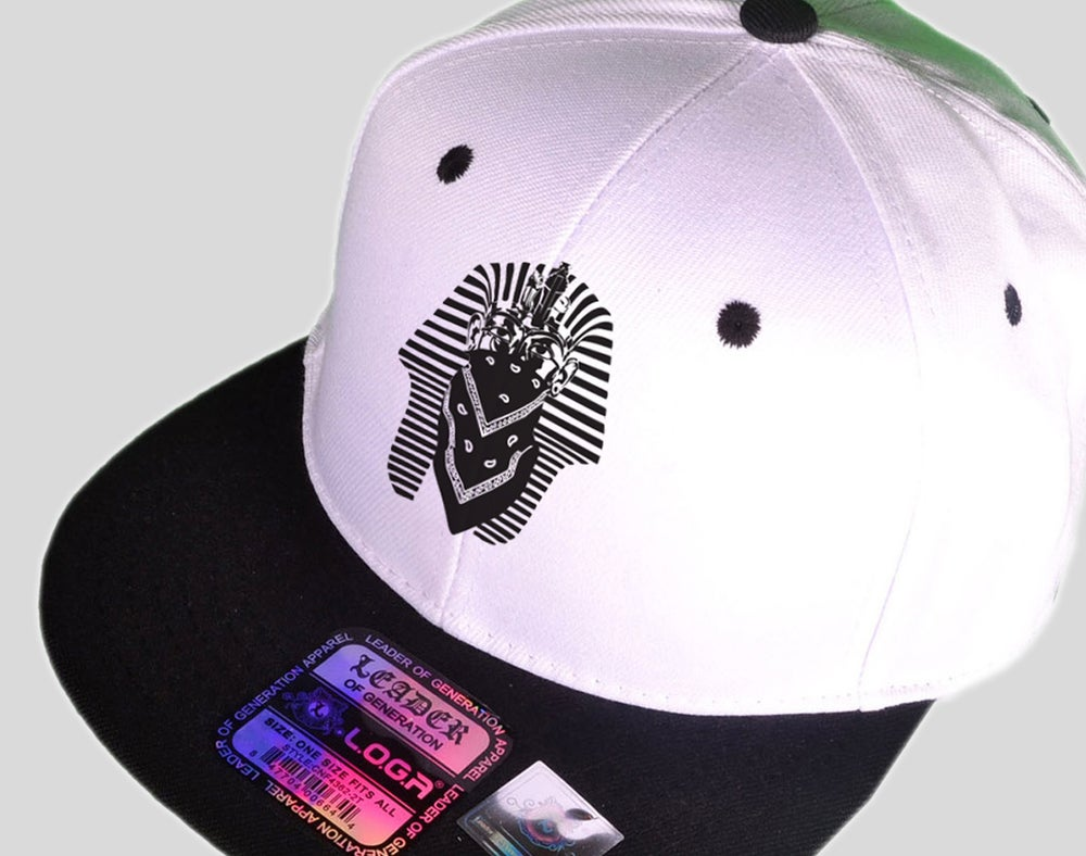 Image of RESPECT DA THRONE (KING TUT BANDANNA Snapback) White & Black