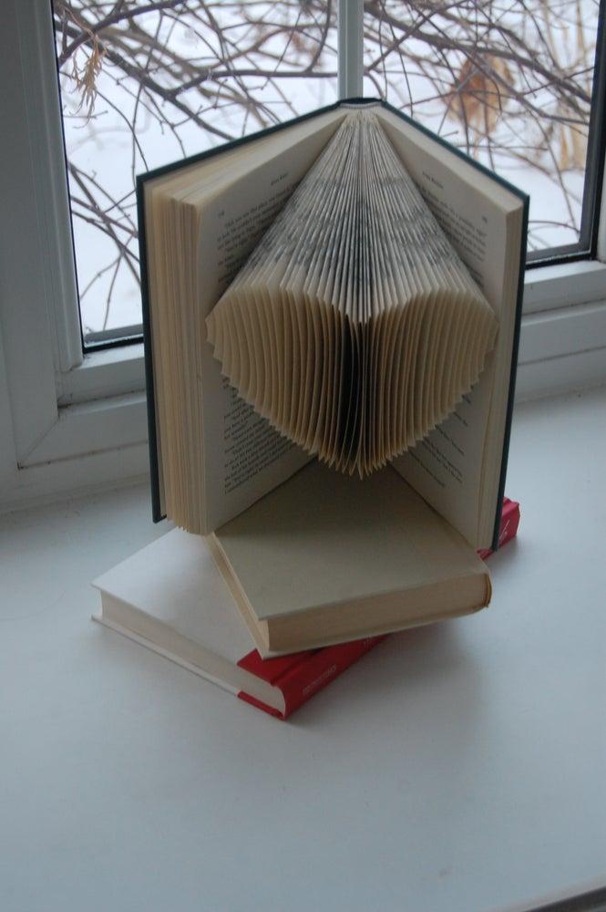 Image of upcycled folded heart shape book
