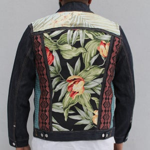 Image of HILL&VELEZ X LeROY JENKINS DENIM JACKETS BLACK JUNGLE FLORAL