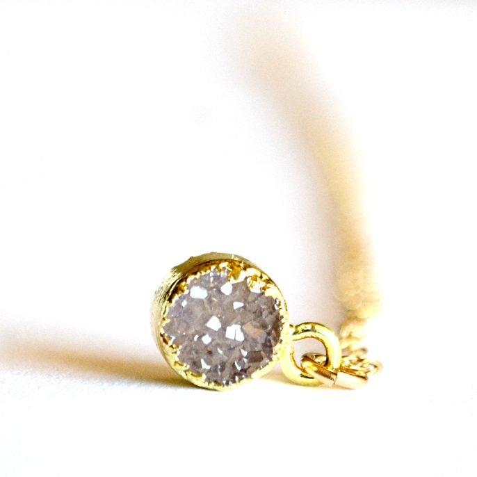 Image of Tiny round druzy necklace