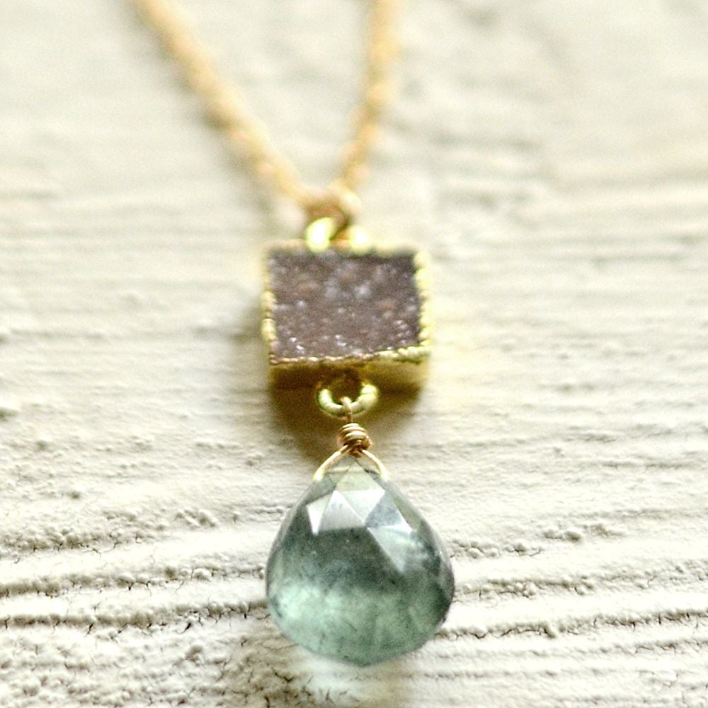Image of Moss aquamarine and druzy necklace