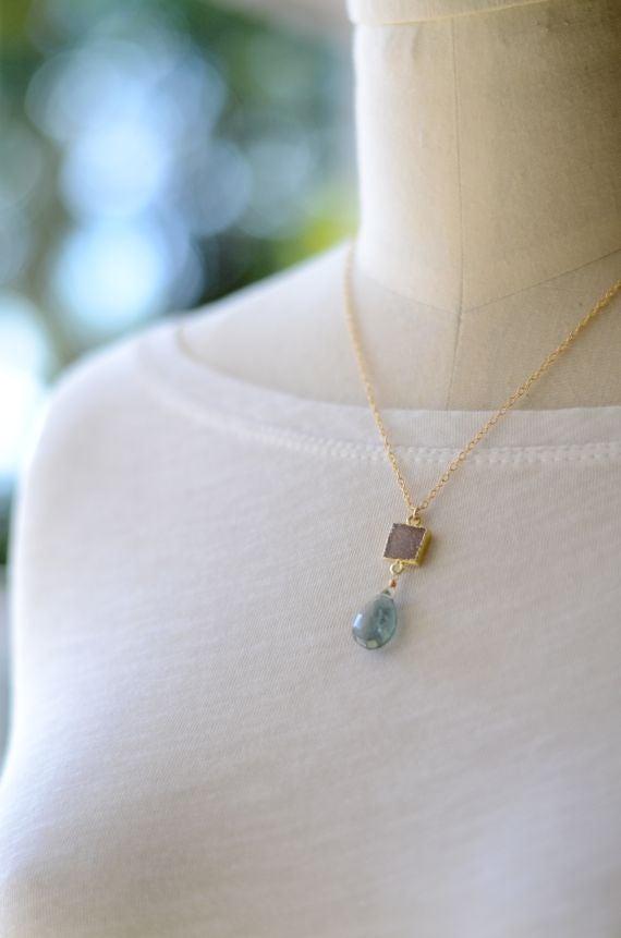 Image of Moss aquamarine and druzy necklace