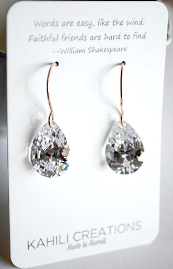 Image of Large pear cubic zirconia earrings