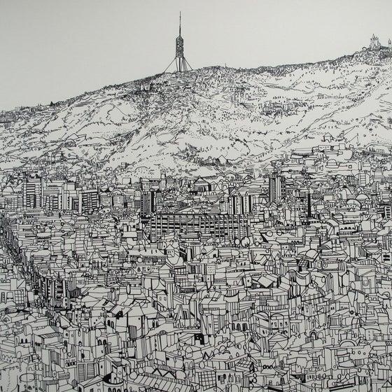 Image of Barcelona view screen print