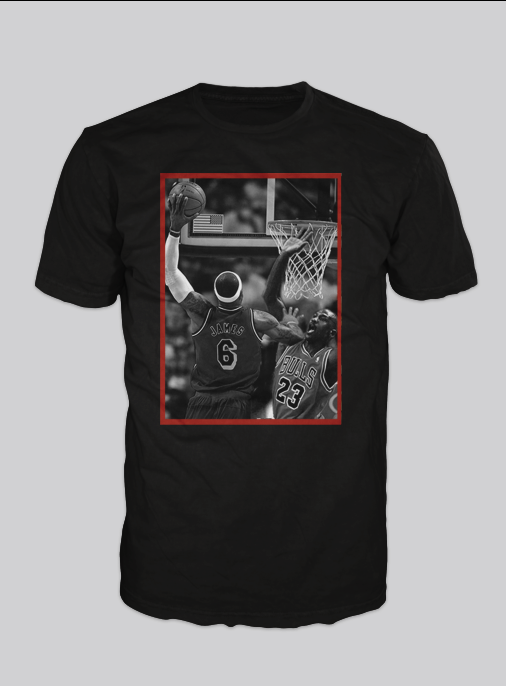 Image of King Me ( Lebron James dunks over Michael Jordan)