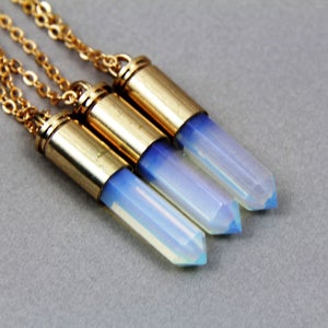 Image of Bullet Crystal Point Necklace, SW158 Crystal Quartz or Blue Opal