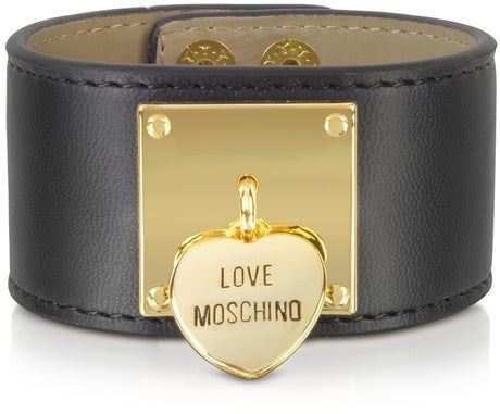 Image of SOLD OUT Moschino Eco Leather Heart Charm Cuff Bracelet
