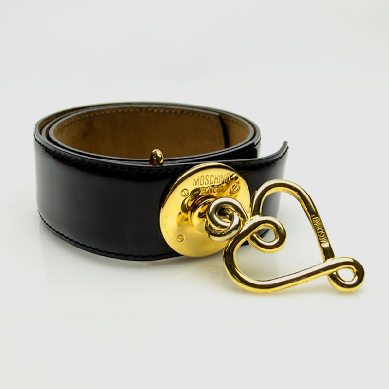 Image of ON SALE   Moschino Redwall Vintage Black Leather Heart Pendant Belt 85 CM