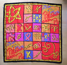 Image of SOLD OUT PALOMA PICASSO Le Foulard De Collection Horoscope Pop Art Scarf