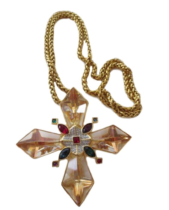 Image of SWAROVSKI EARLY VINTAGE JEWELED CRYSTAL MASSIVE MALTESE CROSS NECKLACE