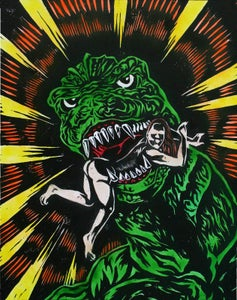 Image of Godzilla Colored woodcut
