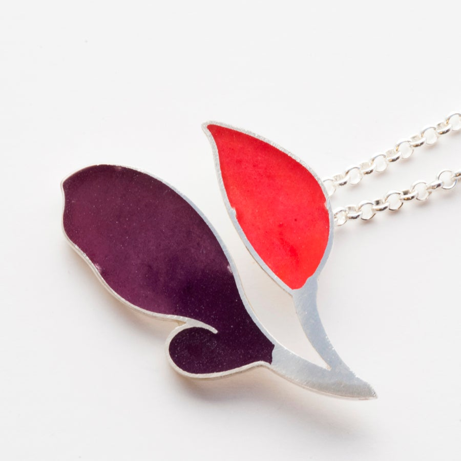 Image of  Resinate Nora purple reds Necklace