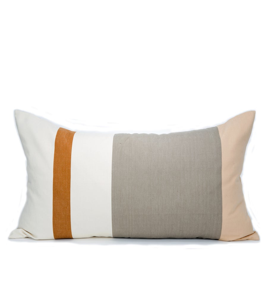 Image of IDA PILLOW white/tan/steel 17X30