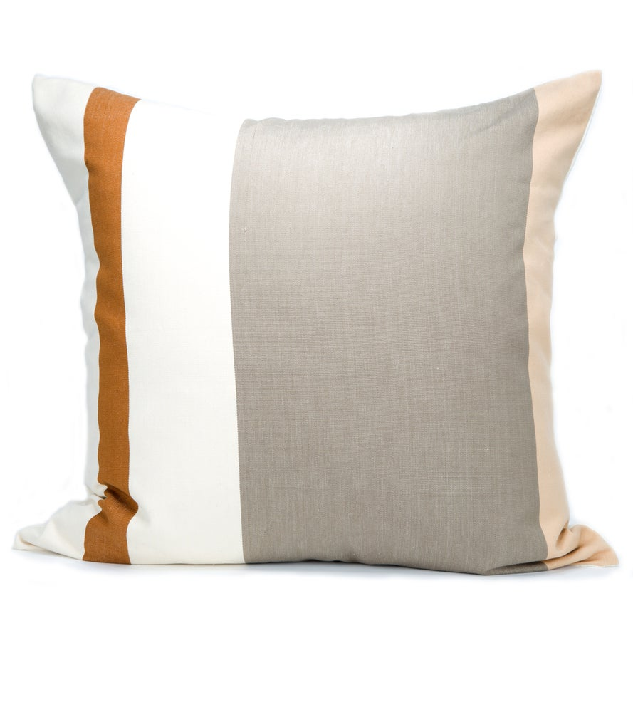 Image of IDA PILLOW white/tan/steel