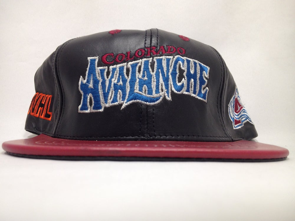 Image of Vintage Deadstock Colorado Avalanche Leather JH Snapback Cap