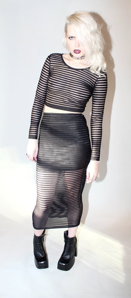 Image of Motel Bobby Skirt in Sheer Stripe