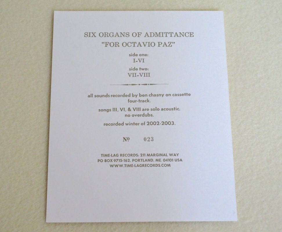 Image of SIX ORGANS OF ADMITTANCE ~ FOR OCTAVIO PAZ ~ lp (TIME-LAG 014)
