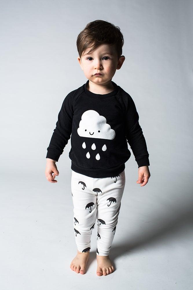Image of organic cotton (large) black + white umbrella cuffed leggings