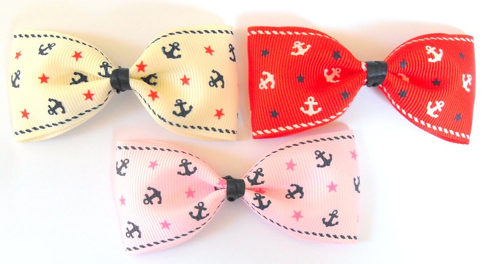 Image of Kitsch Nautical Anchor Hair Bow Accessories Rockabilly Pin Up 50's Retro
