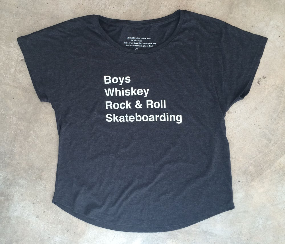 Image of Whiskey, Rock & Roll, Skateboarding Tee