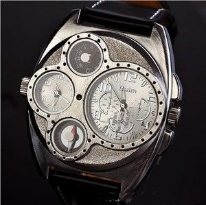 Image of Handmade Retro Leather Wrist Watch / Steampunk Mechanical Man Wrist Watch (WAT0097-Black)